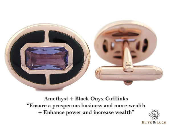 Amethyst + Black Onyx Sterling Silver Cufflinks, Rose Gold plated, Prestige Model