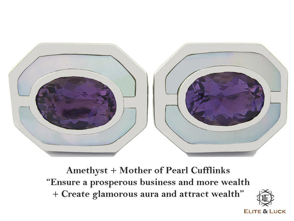Amethyst + Mother of Pearl Sterling Silver Cufflinks, Rhodium plated, Charming Model