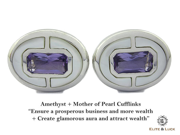 Amethyst + Mother of Pearl Sterling Silver Cufflinks, Rhodium plated, Prestige Model