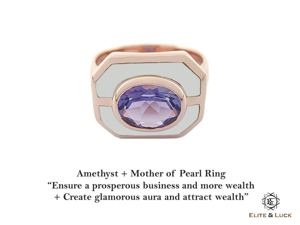 Amethyst + Mother of Pearl Sterling Silver Ring, Rose Gold plated, Charming Model