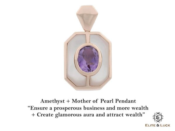 Amethyst + Mother of Pearl Sterling Silver Pendant, Rose Gold plated, Charming Model