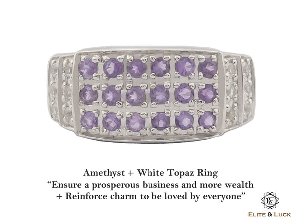 Amethyst + White Topaz Sterling Silver Ring, Rhodium plated, Noble-II Model