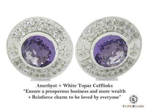 Amethyst + White Topaz Sterling Silver Cufflinks, Rhodium plated, Royal Model