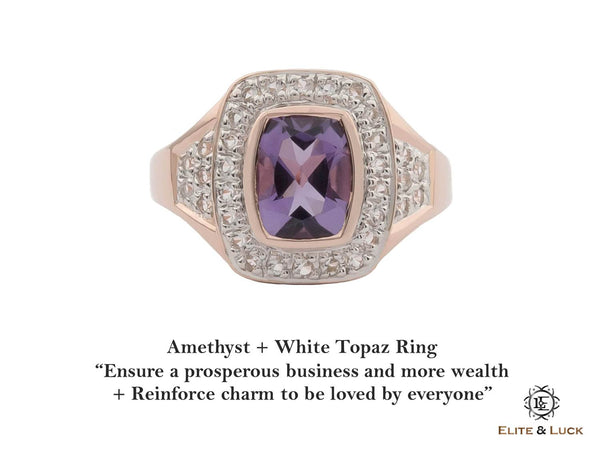 Amethyst + White Topaz Sterling Silver Ring, Rose Gold plated, Deluxe Model