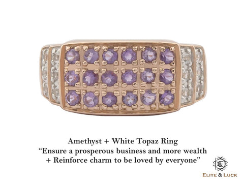 Amethyst + White Topaz Sterling Silver Ring, Rose Gold plated, Noble-II Model