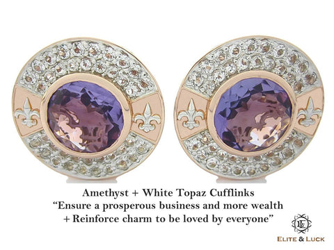 Amethyst + White Topaz Sterling Silver Cufflinks, Rose Gold & Rhodium plated, Royal Model
