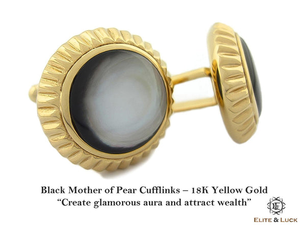 Black Mother of Pearl Sterling Silver Cufflinks, 18K Yellow Gold plated, Elegant Model