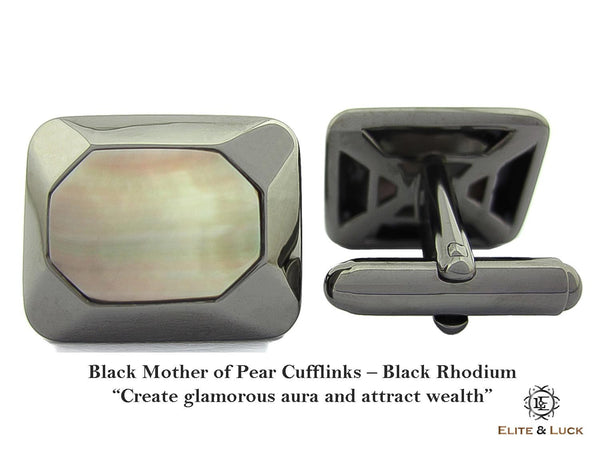 Black Mother of Pearl Sterling Silver Cufflinks, Black Rhodium plated, Modern Model