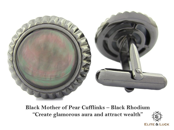 Black Mother of Pearl Sterling Silver Cufflinks, Black Rhodium plated, Elegant Model