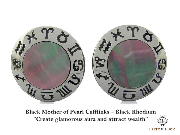 Black Mother of Pearl Sterling Silver Cufflinks, Black Rhodium plated, Zodiac Model *** Exclusive Cufflinks for Gemini ***