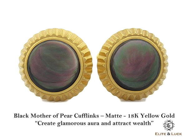 Black Mother of Pearl Sterling Silver Cufflinks, Matte Finish, 18K Yellow Gold plated, Elegant Model