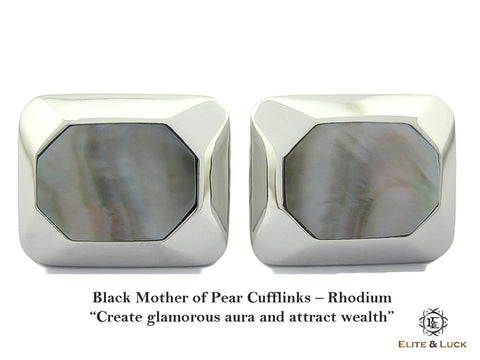Black Mother of Pearl Sterling Silver Cufflinks, Rhodium plated, Modern Model
