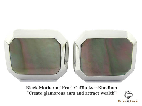 Black Mother of Pearl Sterling Silver Cufflinks, Rhodium plated, Classic Model