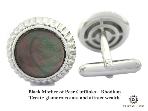 Black Mother of Pearl Sterling Silver Cufflinks, Rhodium plated, Elegant Model