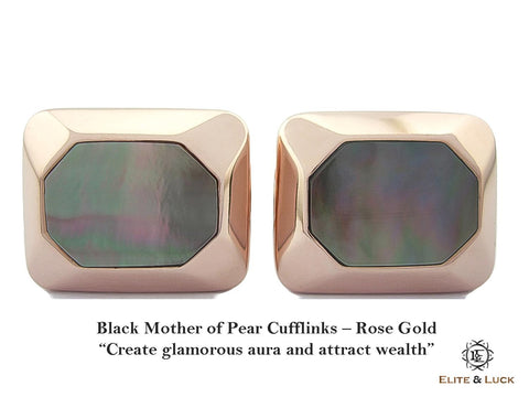 Black Mother of Pearl Sterling Silver Cufflinks, Rose Gold plated, Modern Model