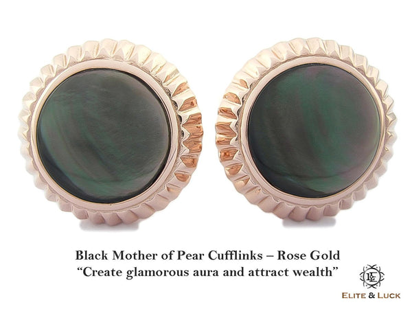 Black Mother of Pearl Sterling Silver Cufflinks, Rose Gold plated, Elegant Model