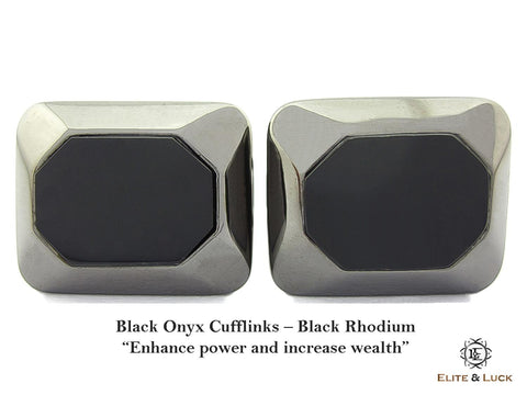 Black Onyx Sterling Silver Cufflinks, Black Rhodium plated, Modern Model