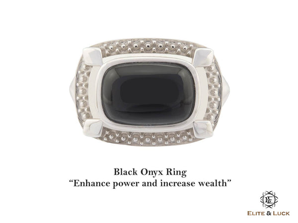 Black Onyx Sterling Silver Ring, Rhodium plated, Luxury Model