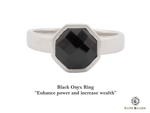 Black Onyx Sterling Silver Ring, Rhodium plated, Glamorous Model