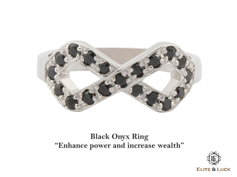 Black Onyx Sterling Silver Ring, Rhodium plated, Infinite Model