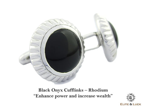 Black Onyx Sterling Silver Cufflinks, Rhodium plated, Elegant Model