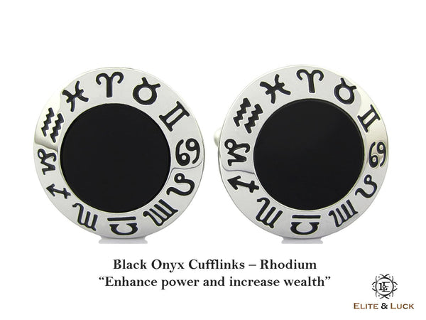 Black Onyx Sterling Silver Cufflinks, Rhodium plated, Zodiac Model *** Exclusive Cufflinks for Leo ***