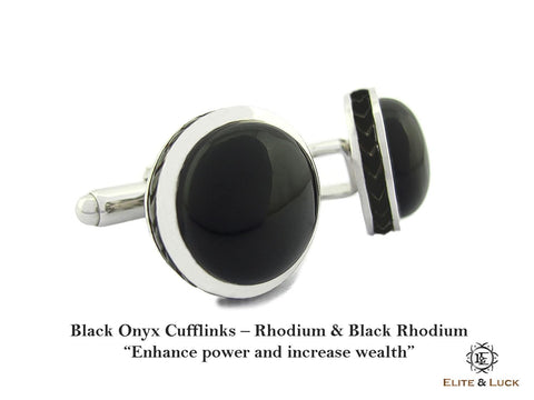 Black Onyx Sterling Silver Cufflinks, Rhodium & Black Rhodium plated, Limited Model