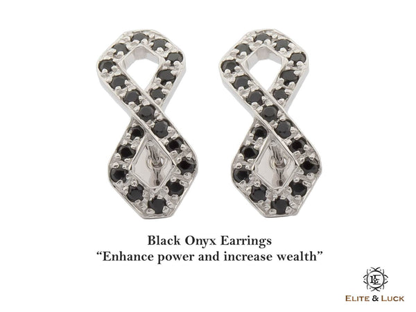 Black Onyx Sterling Silver Earrings, Rhodium plated, Infinite Model