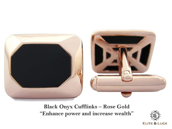 Black Onyx Sterling Silver Cufflinks, Rose Gold plated, Modern Model