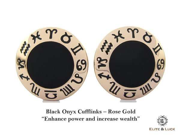Black Onyx Sterling Silver Cufflinks, Rose Gold plated, Zodiac Model *** Exclusive Cufflinks for Leo ***