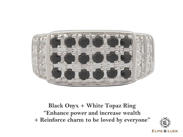 Black Onyx + White Topaz Sterling Silver Ring, Rhodium plated, Noble-II Model