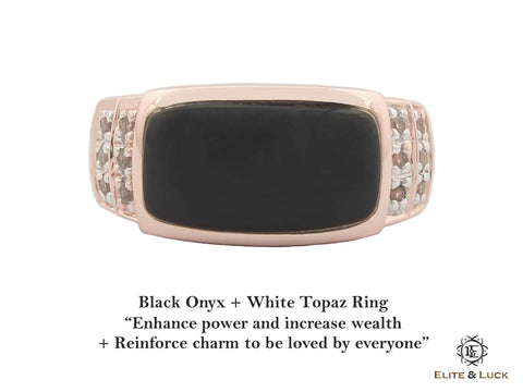 Black Onyx + White Topaz Sterling Silver Ring, Rose Gold plated, Noble Model
