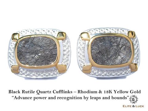 Black Rutile Quartz Sterling Silver Cufflinks, Rhodium & 18K Yellow Gold plated, Luxury Model