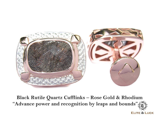 Black Rutile Quartz Sterling Silver Cufflinks, Rose Gold & Rhodium plated, Luxury Model