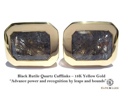 Black Rutile Quartz Sterling Silver Cufflinks, 18K Yellow Gold plated, Classic Model