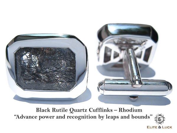 "Black Rutile Quartz Sterling Silver Cufflinks ""Royal Black"", Rhodium plated, Classic Model"