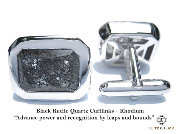 Black Rutile Quartz Sterling Silver Cufflinks, Rhodium plated, Classic Model