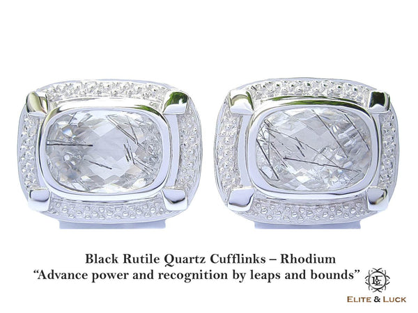 Black Rutile Quartz Sterling Silver Cufflinks, Rhodium plated, Luxury Model