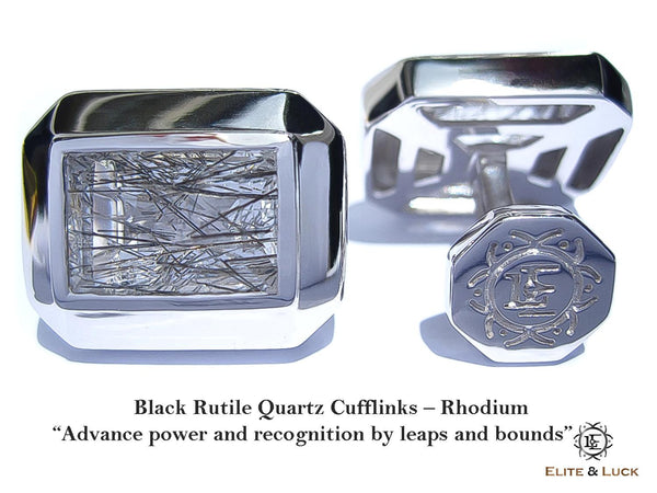 Black Rutile Quartz Sterling Silver Cufflinks, Rhodium plated, Elite Model