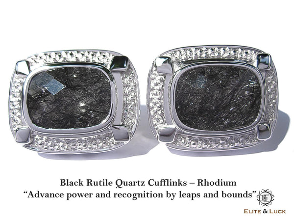 "Black Rutile Quartz Sterling Silver Cufflinks ""Royal Quality"", Rhodium plated, Luxury Model"