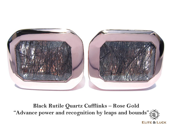Black Rutile Quartz Sterling Silver Cufflinks, Rose Gold plated, Classic Model