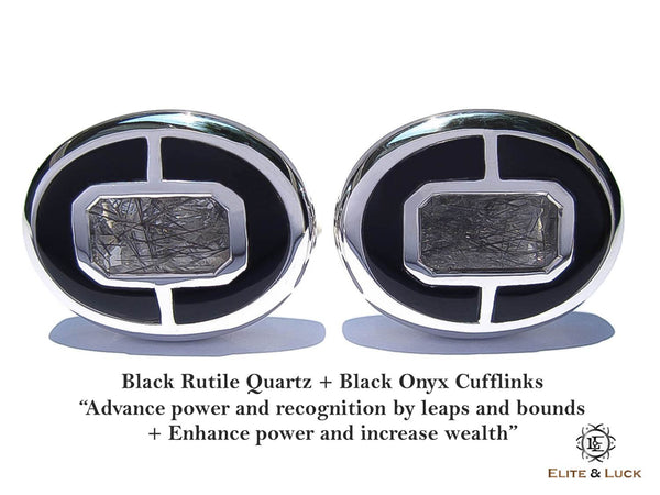 Black Rutile Quartz + Black Onyx Sterling Silver Cufflinks, Rhodium plated, Prestige Model