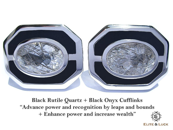 Black Rutile Quartz + Black Onyx Sterling Silver Cufflinks, Rhodium plated, Charming Model