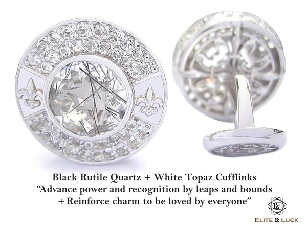 Black Rutile Quartz + White Topaz Sterling Silver Cufflinks, Rhodium plated, Royal Model