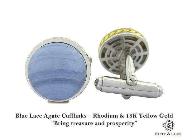 Blue Lace Agate Sterling Silver Cufflinks, Rhodium & 18K Yellow Gold plated, Limited Model