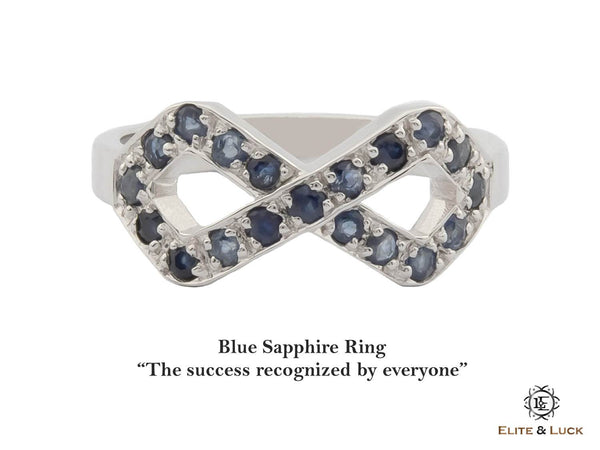 Blue Sapphire Sterling Silver Ring, Rhodium plated, Infinite Model