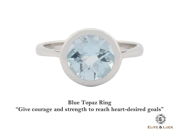 Blue Topaz Sterling Silver Ring, Rhodium plated, Dashing Model