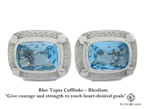 Blue Topaz Sterling Silver Cufflinks, Rhodium plated, Luxury Model