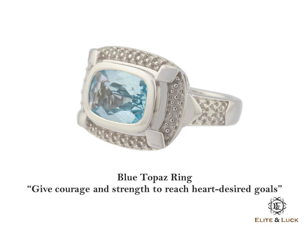 Blue Topaz Sterling Silver Ring, Rhodium plated, Luxury Model