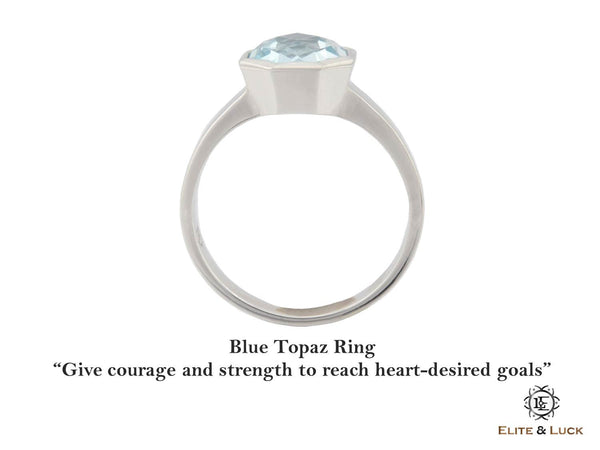 Blue Topaz Sterling Silver Ring, Rhodium plated, Glamorous Model